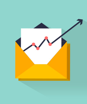 Chart of email marketing metrics going up