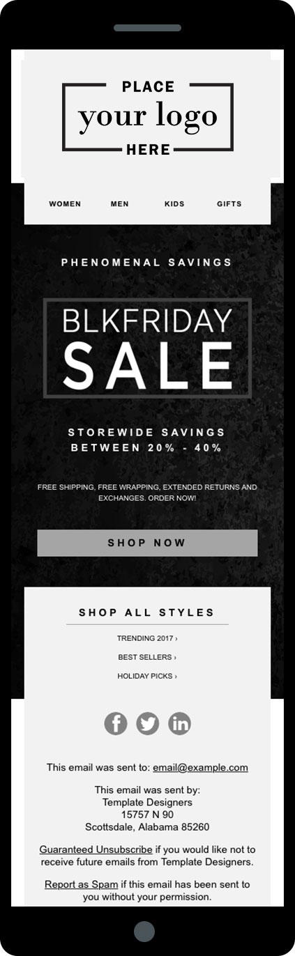 5 email templates for thanksgiving black friday and cyber monday firedrum email marketing. Black Bedroom Furniture Sets. Home Design Ideas